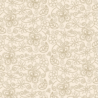 Bloemen over beige achtergrondpatroon vectorillustratie