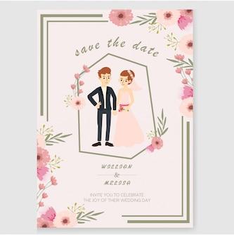 Bloemen paar bruiloft uitnodiging