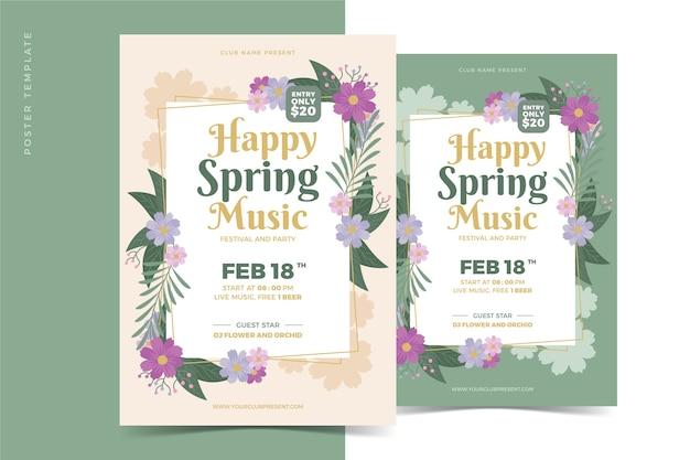 Bloemen partij poster lente seizoen concept