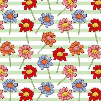 Bloemen patroon hand getrokken.