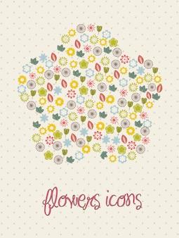 Bloemen pictogrammen over beige achtergrond vectorillustratie