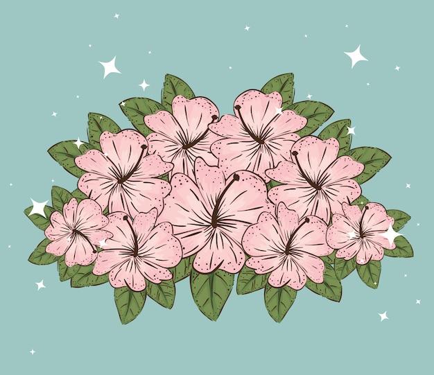 Bloemen planten met natuurlijke bladeren en bloemblaadjes