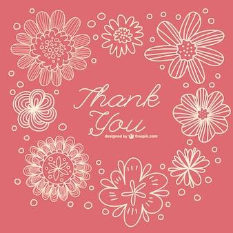 Bloemen retro dank u nota