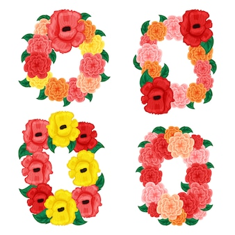 Bloemen rond en vierkant frame met roos en hibistus geïsoleerd op een witte achtergrond