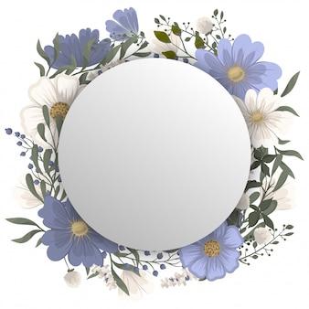 Bloemen rond frame - blauw cirkelframe met bloemen
