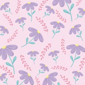 Bloemen roze achtergrond met paarse bloemen, kleurrijk ontwerp