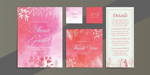 Bloemen roze bruiloft kaart aquarel achtergrond uitnodiging sjabloon set