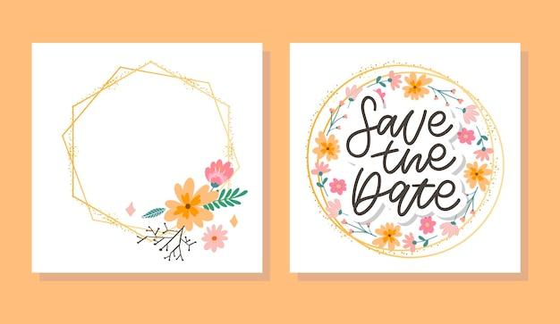 Bloemen save the date kaartenset