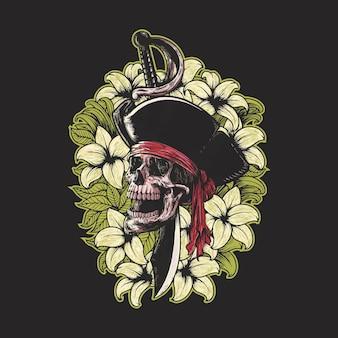 Bloemen schedel piraat illustratie