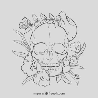 Bloemen schedel tekening