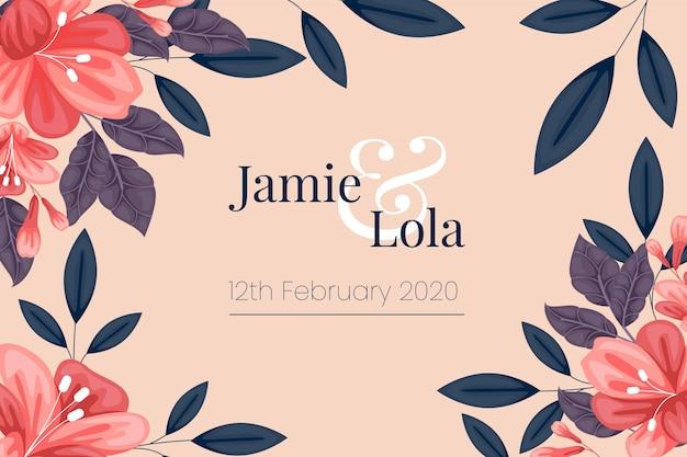 Bloemen sparen de datum bruiloft uitnodiging sjabloon