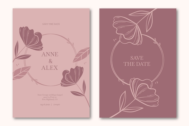 Bloemen sparen de uitnodiging van het datumhuwelijk
