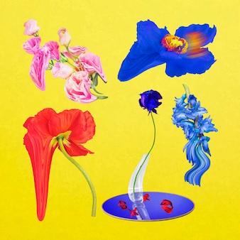 Bloemen stickers vector psychedelische kleurrijke abstracte kunst set