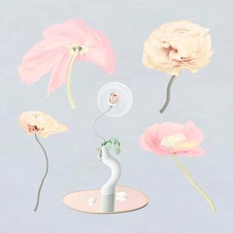 Bloemen stickers vector psychedelische pastel abstracte kunst set