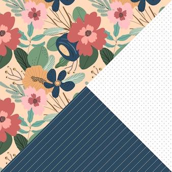 Bloemen streep punt naadloze patroon