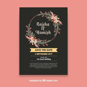 Bloemen trouwuitnodiging met cirkelvormig frame