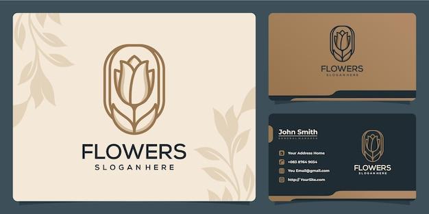 Bloemen tulpenblad luxe monoline logo-ontwerp en visitekaartje