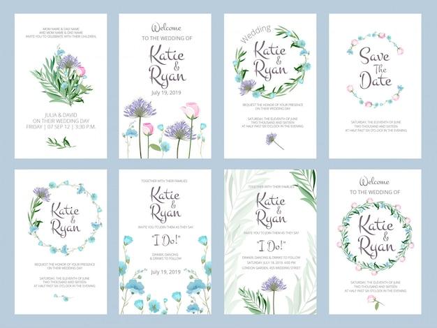 Bloemen uitnodiging bruiloft liefde wenskaarten