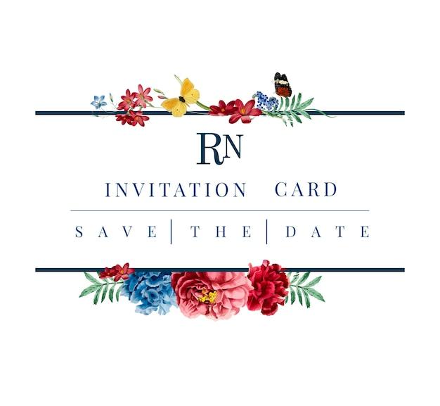 Bloemen uitnodigingskaart mockup illustratie