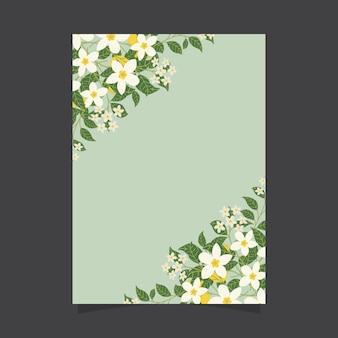 Bloemen uitnodigingssjabloon met jasmijn bloemen en citroenen