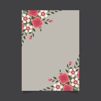 Bloemen uitnodigingssjabloon met rozen
