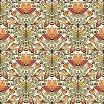 Bloemen uitstekend naadloos patroon voor retro behang