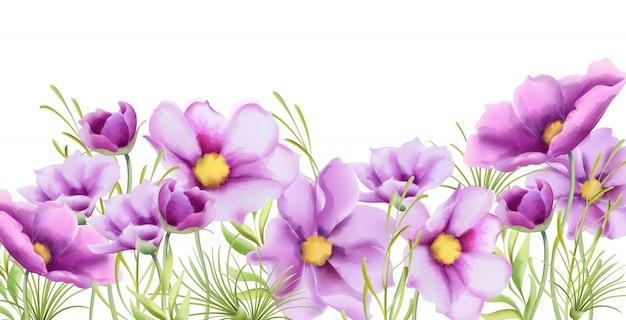 Bloemen van het waterverf de purpere madeliefje met groene bladerenbanner