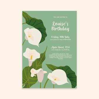 Bloemen verjaardag uitnodiging sjabloon concept