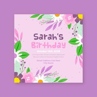 Bloemen verjaardag uitnodiging sjabloon thema