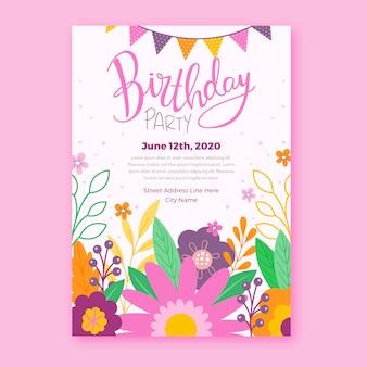 Bloemen verjaardag uitnodiging sjabloonontwerp
