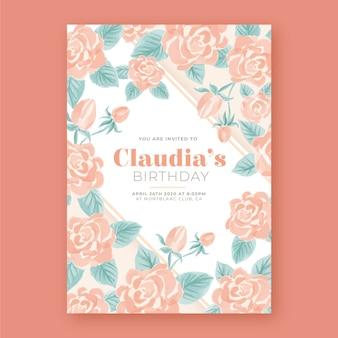 Bloemen verjaardagskaart sjabloon thema