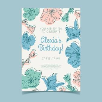 Bloemen verjaardagskaart sjabloonontwerp