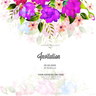 Bloemen versierd, ontwerp van de uitnodigingskaart.