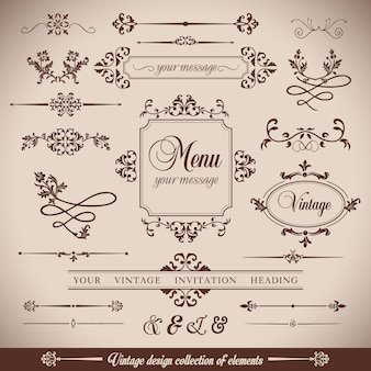 Bloemen vintageretro frame en calligrpaphic elementen