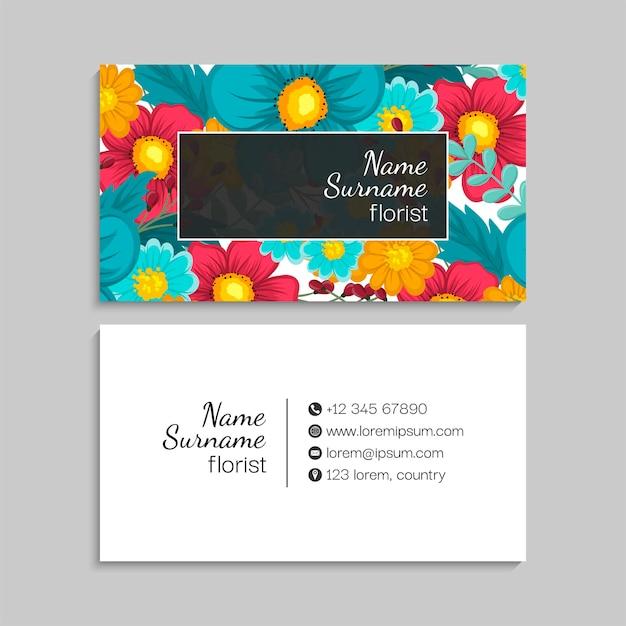 Bloemen visitekaartje met frame