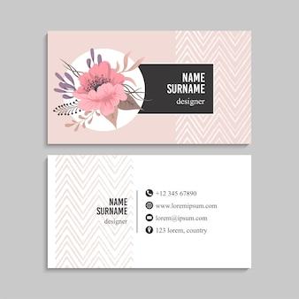 Bloemen visitekaartje set.