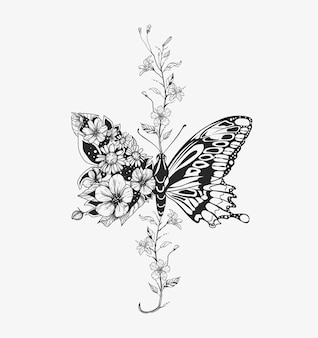 Bloemen vlinder. bloem samenstelling. illustratie.