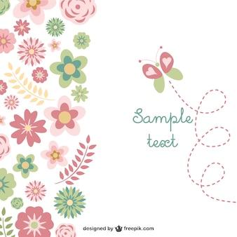 Bloemen vlinder gratis kaart