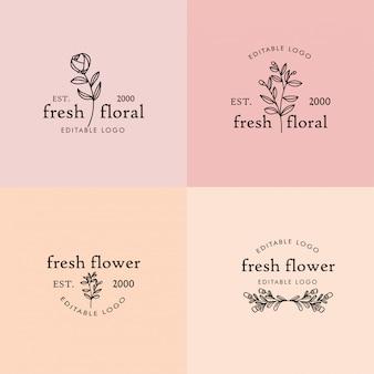 Bloemen vrouwelijke bewerkbare premade monoline logo blad