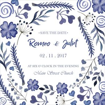 Bloemen waterverf bruiloft uitnodigingssjabloon