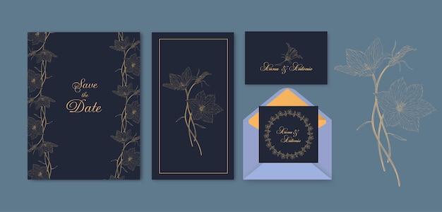 Bloemen wenskaart set met bloemen bluebell roundleaf