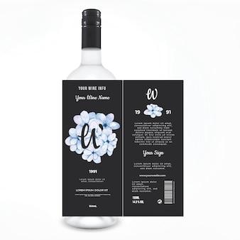 Bloemen wijnetiquette drankreclame
