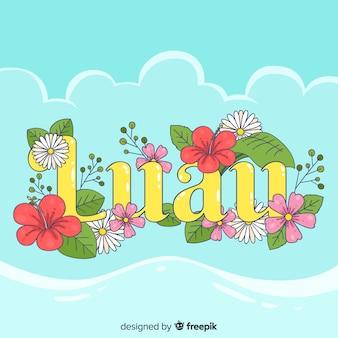 Bloemen woord luau achtergrond