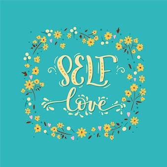 Bloemen zelf liefde belettering