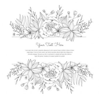 Bloemen zwart en wit decoratief kader