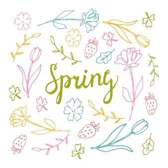 Bloemenachtergrond, de lentethema, groetkaart