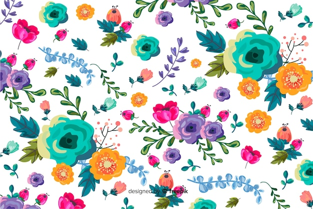 Bloemenachtergrond in met de hand geschilderd ontwerp