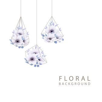 Bloemenachtergrond met anemoonbloemen in terrarium