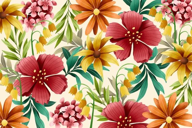 Bloemenachtergrond met graantextuureffect