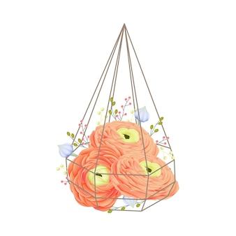 Bloemenachtergrond met ranunculus bloem in terrarium